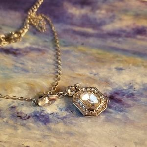 NWT Emerald Cut Crystal Pendant Necklace